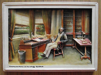 VINTAGE c1920 COLOURED OSBORNE IVOREX OF CHARLES DICKENS IN HIS STUDY GADSHILL