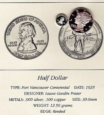 1925 Fort Vancouver 50c Franklin Mint Miniature Proof Silver Coin