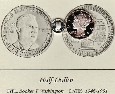 1946 Booker T Washington 50c Franklin Mint Miniature Sterling Silver Proof Coin