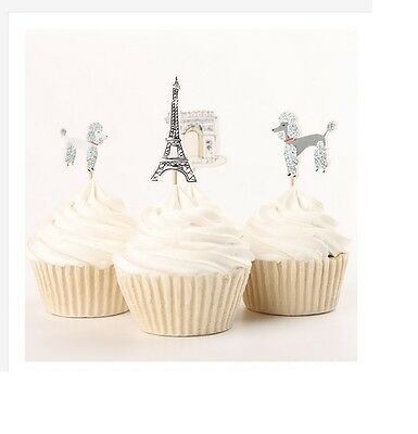Paris Eiffel Tower Cupcake cake toppers party decoration fruit toppers 24pcs