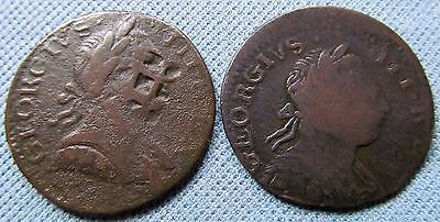 Lot of 2 1700s King George III Halfpenny Coppers - Non-Regal Study Counterstamp