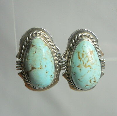Vintage NATIVE AMERICAN Handcrafted Sterling Silver TURQUOISE Earrings Signed AW