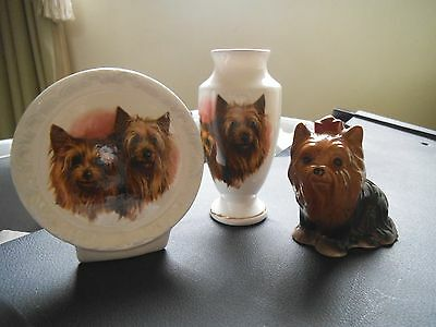 Yorkshire terrier ornaments x 3 bone china  together exellent condition