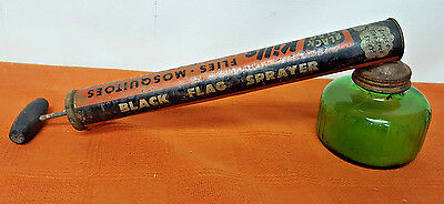 "Black Flag Bug Sprayer Duster Green Glass Bottle Vintage1950's 11"" wood handle"