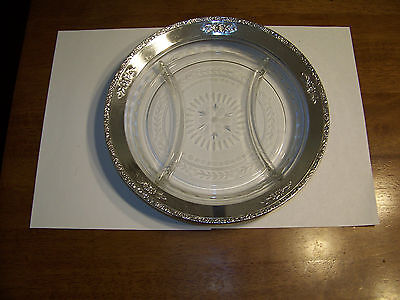 Vintage Glass and Sterling Silver Divided Plate