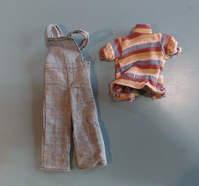 Vintage Barbie Skipper Doll Clothes - Skipper or Clone Overalls and Top