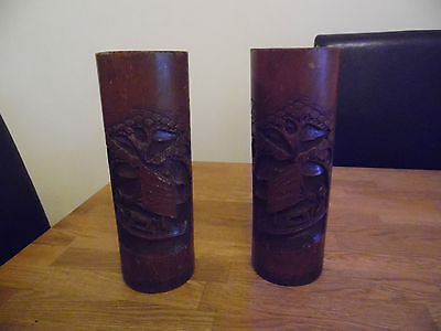 Pair Of Vintage Chinese Carved Bamboo Brush Pots