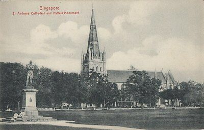 SINGAPORE : St Andrews Cathedral and Raffles Monument -HIlCKES