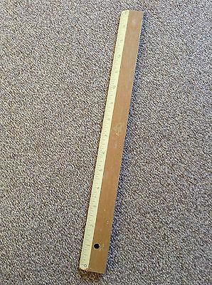 """vintage 15"""" wooden ruler with brass insert edge"""