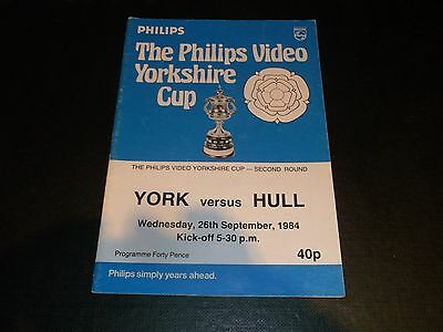 Programme York V Hull 1984 Yorkshire Cup