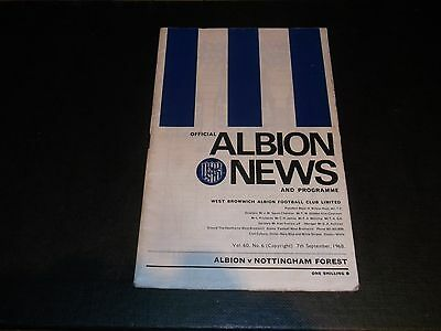 Programme West Bromwich Albion V Nottingham Forest 1968