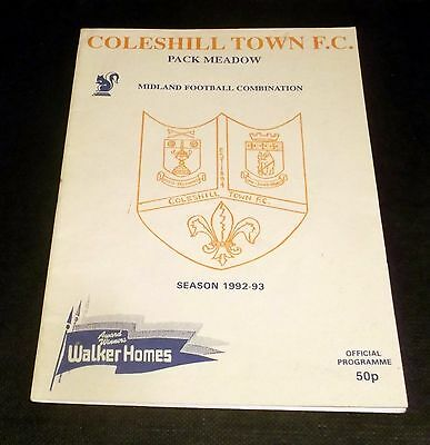 Programme Coleshill V Knowle 1992