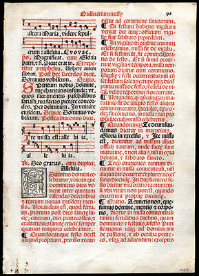 1566 Scarce Edition Roman Missal Leaf Antiphonal Music & Text for Sunday Mass