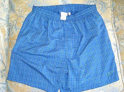 Men's Speedo Blue Small Check Swimming Shorts, Size:  Xl, Exc. Cond.