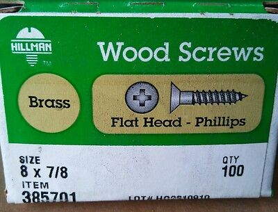 "#8 X 7/8"" flat head phillips wood screw brass (100pcs)"