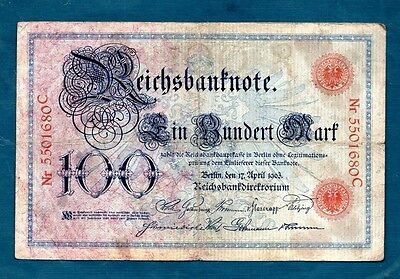Germany  -  1903    100 Marks  - Nice About Fine/vf   And Scarce