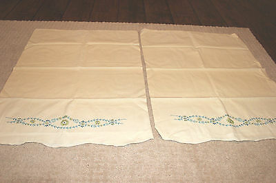 "Vintage Embroidered Pillowcases with green blue flowers 28"" x 21"" very pretty :)"