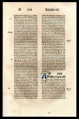533 Yr Old Incunable Leaf Theologian Bromyard's Greatest Proclamation Dominican