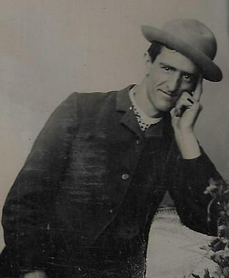 Tintype Photo #t93   Man With A Brimmed Hat - Artistic Pose - Thinking