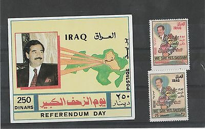 """Iraq 1997 Referendum Day """"We say yes Saddam"""" set of 2 stamps and Miniature Sheet"""