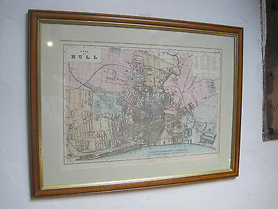 Large Antique Map of Hull by GW Bacon c1890