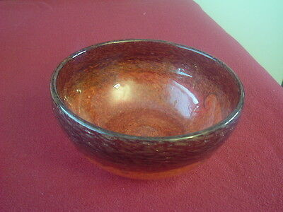 Strathearn Glass bowl 15.5cms wide 6.5cms high, Leaping salmon base mark .