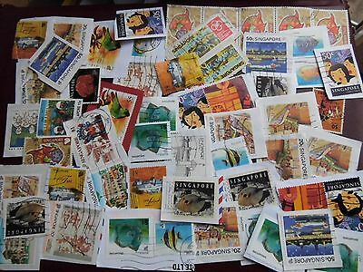 Collection LOT used SINGAPORE stamps - ON & OFF PAPER