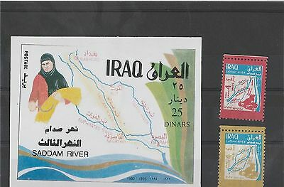 Iraq 1995 Completion of Saddam River set of 2 stamps and 2 Miniature Sheets