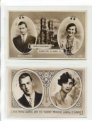 Royalty - Two Rppc  Marriage Of Prince George & Princess Marina Of Greece