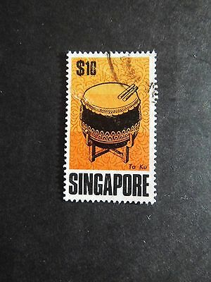 1968 Singapore stamp Ta Ku DRUM high value issue FINE USED $10  Cat Value £15