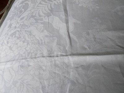 """154"""" x 82"""" Vintage Figural Irish Linen Damask Tablecloth Stags and Hounds"""