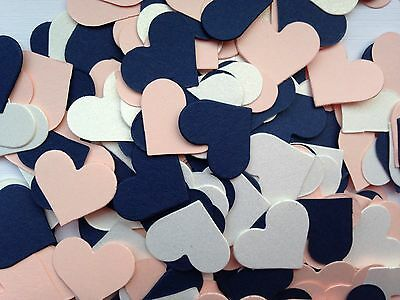 300 Card Heart Confetti Table Sprinkles NAVY BLUE PEACH IVORY Wedding Party