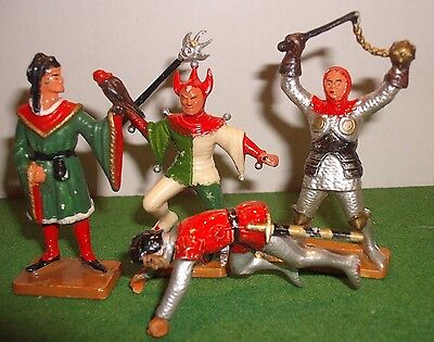STARLUX ,60mm scale, 4 x MEDIEVAL figures, jester, falconer etc  factory painted