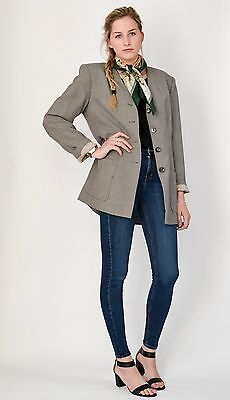 JEAGER VINTAGE Womens Blazer Jacket 10 12 14 Heritage Tweed Checked Duster M