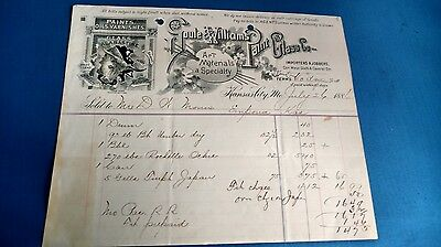 Vintage Antique 1886 Goule And Williams Paint Glass Company Invoice Receipt KC