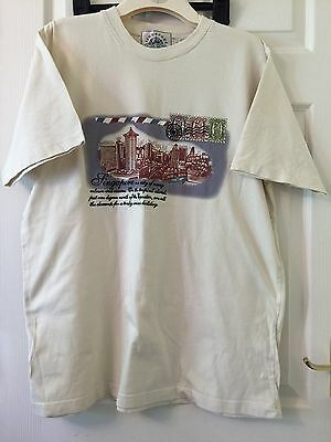 Singapore Stamp T-SHIRT Taupe Size L