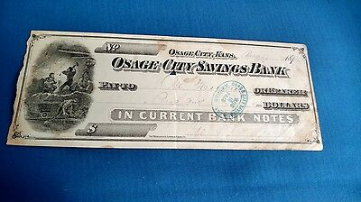 Vintage Antique 1876 Osage City Savings Bank Notes Kansas Check Currencies