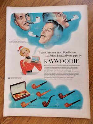 1953 Kaywoodie Briar Pipe Ad Christmas Theme White Briar Others