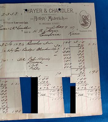 Vintage Antique 1887 Thayer and Chandler Letterhead Invoice Artist and Materials