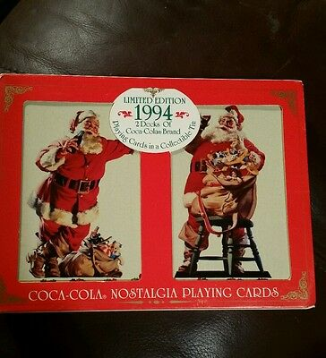 VTG Coca Cola Nostalgia Playing Cards 1994 2 sealed Decks Collectible Tin Santa