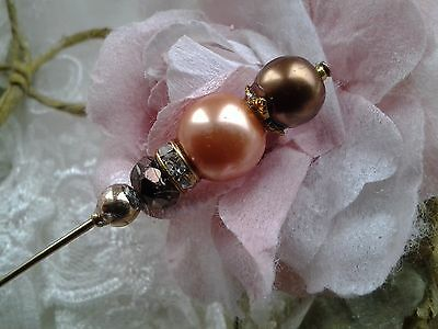 Glamorous Bronze  Pearl Bead Hat Pin with protector( 6 inch )
