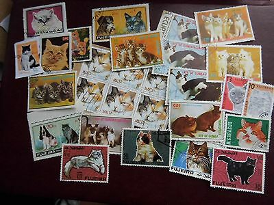 Collection LOT - CATS on stamps THEMATICS - used ON & OFF PAPER