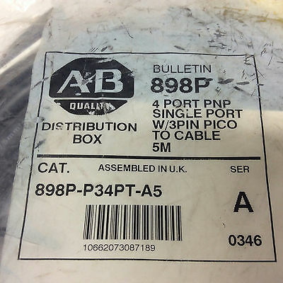 Allen Bradley 898P-P34PT-A5 4 Port PNP Single Port Pico Cable 5M Ser A