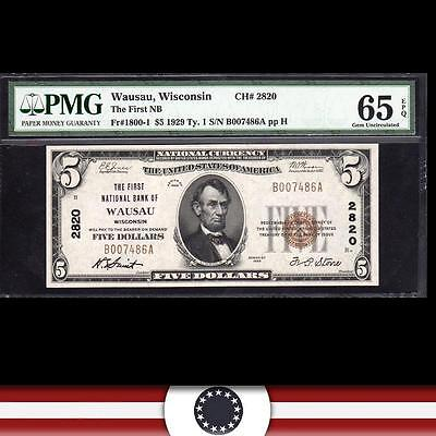 1929 $5 WAUSAU, WI National Currency PMG 65 EPQ WISCONSIN Paper Money