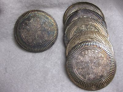 Rainbow Toned Antique,Vintage, 6 Silver Plated Drink Coasters Marked 60gr Sweden