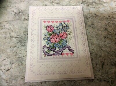 Bunch Flowers completed cross stitch card