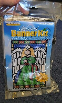 """The Beadery 5307 """" Holiday Angel """" Banner Kit, New! 10"""" X 14 3/4"""", Made In Usa"""