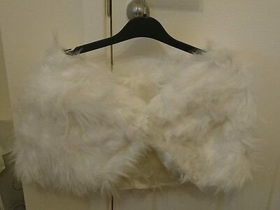 Womens wedding bridal fur shoulder wrap - one size -shrug bolero white ivory new