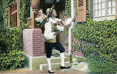 Gentleman & Two Babies 1905 Comic Funny Postcard Brixton Westminster