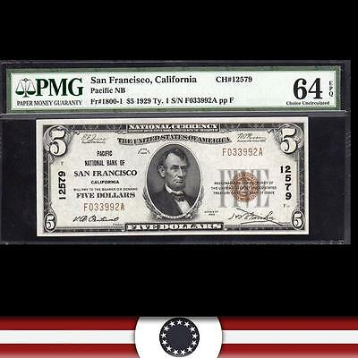 1929 $5 SAN FRANCISCO National Currency, PMG 64 EPQ  CALIFORNIA Paper Money